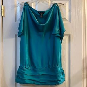WHBM teal Silk split sleeve blouse